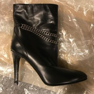 NIB Saint Laurent Black Leather Debbie Bootie 38